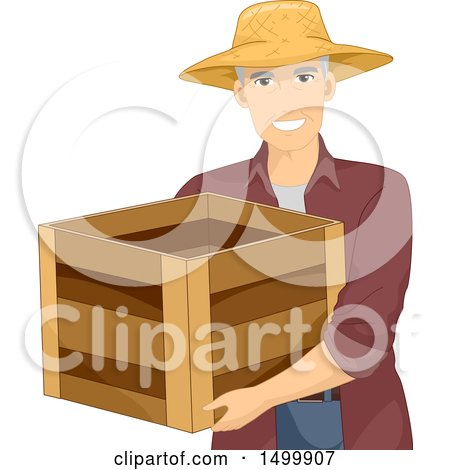 Clipart of a Senior Male Farmer Carrying a Crate - Royalty Free Vector Illustration by BNP Design Studio