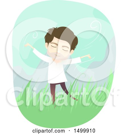 Clipart of a Carefree Spiritual Man Outdoors - Royalty Free Vector Illustration by BNP Design Studio