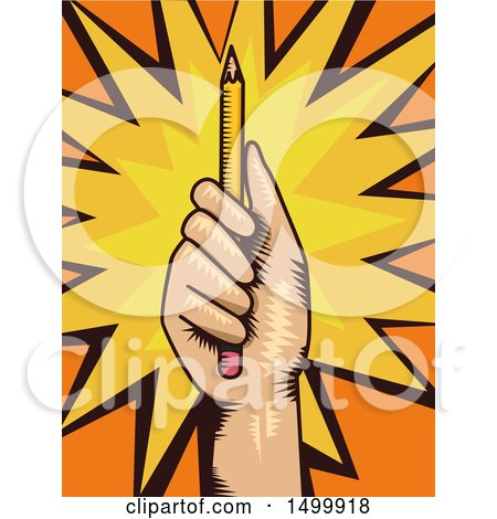 Clipart of a Hand Holding up a Pencil over a Burst - Royalty Free Vector Illustration by BNP Design Studio
