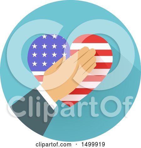 Clipart of a Hand over an American Flag Heart in a Circle - Royalty Free Vector Illustration by BNP Design Studio