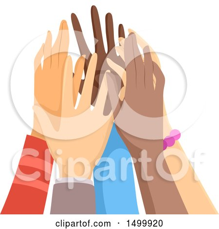 Clipart of a Group of Hands Doing a Team High Five - Royalty Free Vector Illustration by BNP Design Studio