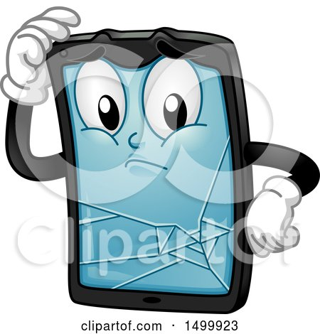 Clipart of a Broken Tablet Computer Character Mascot - Royalty Free Vector Illustration by BNP Design Studio