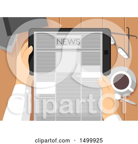 Clipart of a Pair of Hands Holding a Tablet Computer and Reading the News - Royalty Free Vector Illustration by BNP Design Studio