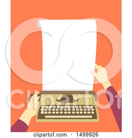 Pair of Hands Inserting Paper into a Typewriter Posters, Art Prints