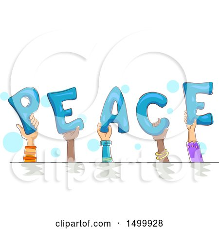 Clipart of Hands Holding up Letters and Spelling Peace - Royalty Free Vector Illustration by BNP Design Studio