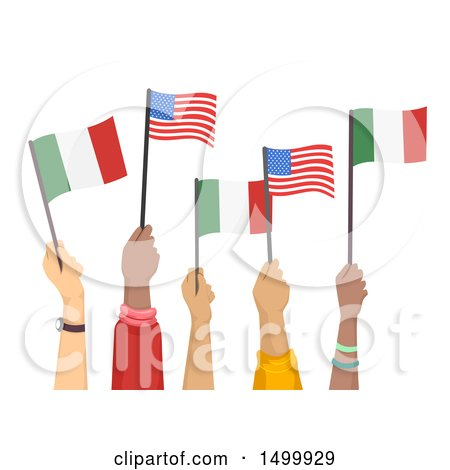 Clipart of Hands Holding up American and Italian Flags - Royalty Free Vector Illustration by BNP Design Studio