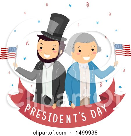Clipart of a Presidents Day Banner with Abraham Lincoln and George Washington - Royalty Free Vector Illustration by BNP Design Studio