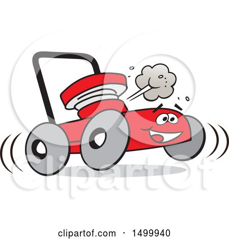 Clipart of a Cartoon Red Happy Lawn Mower - Royalty Free Vector Illustration by Johnny Sajem