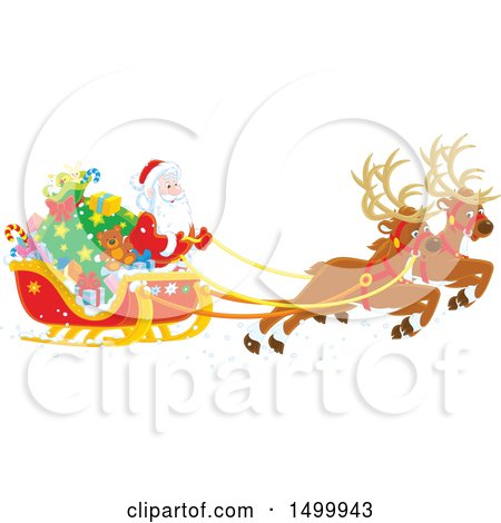 Clipart of a Christmas Sleigh with Flying Reindeer and Santa - Royalty Free Vector Illustration by Alex Bannykh