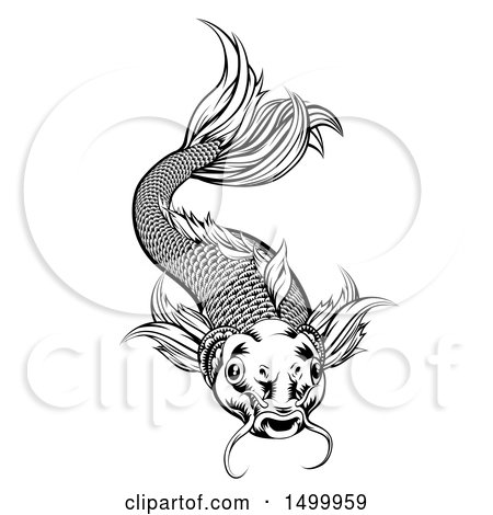 Clipart of a Black and White Woodcut Swimming Koi Fish - Royalty Free Vector Illustration by AtStockIllustration