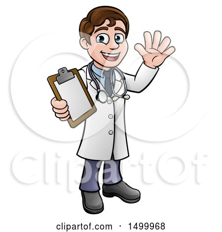 Clipart of a Cartoon Friendly Brunette White Male Doctor Holding a Clipboard Chart - Royalty Free Vector Illustration by AtStockIllustration