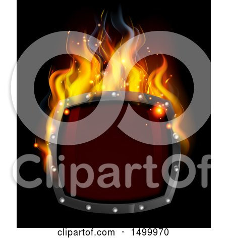 Clipart of a 3d Fiery Hot Shield on Black - Royalty Free Vector Illustration by AtStockIllustration
