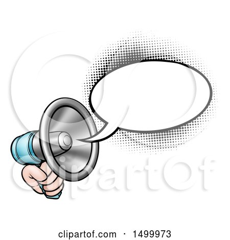 Clipart of a Hand Holding a Megaphone with a Speech Bubble - Royalty Free Vector Illustration by AtStockIllustration
