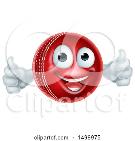 Clipart of a 3d Cricket Ball Mascot Character Giving Two Thumbs up - Royalty Free Vector Illustration by AtStockIllustration