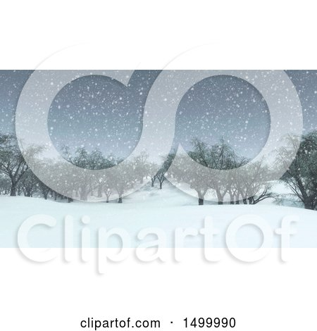 Clipart of a 3d Snowy Winter Landscape with Trees - Royalty Free Illustration by KJ Pargeter