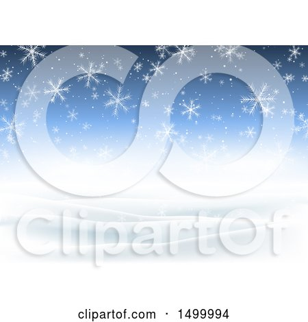Clipart of a Blue Christmas Background with Falling Winter Snowflakes - Royalty Free Vector Illustration by KJ Pargeter