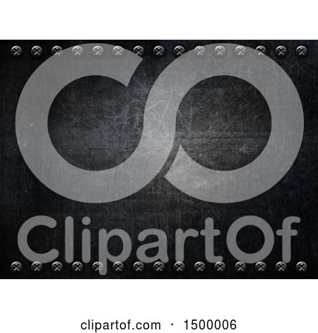 Clipart of a Scratched Metal Background with Screws - Royalty Free Illustration by KJ Pargeter
