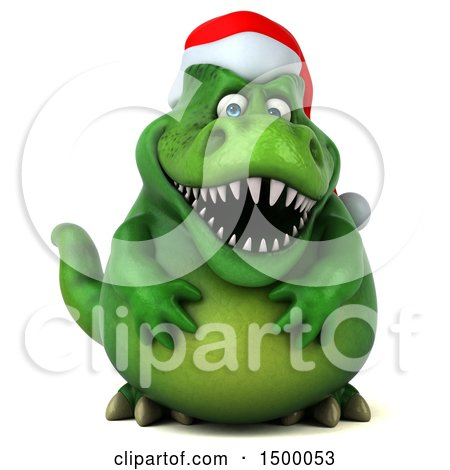 Clipart of a 3d Green Christmas T Rex Dinosaur, on a White Background - Royalty Free Illustration by Julos