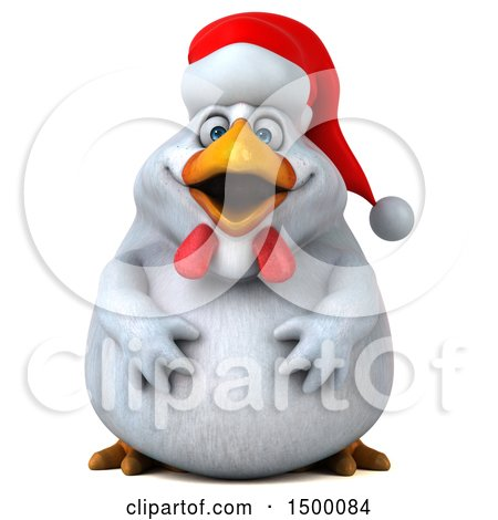 Clipart of a 3d Chubby White Christmas Chicken, on a White Background - Royalty Free Illustration by Julos
