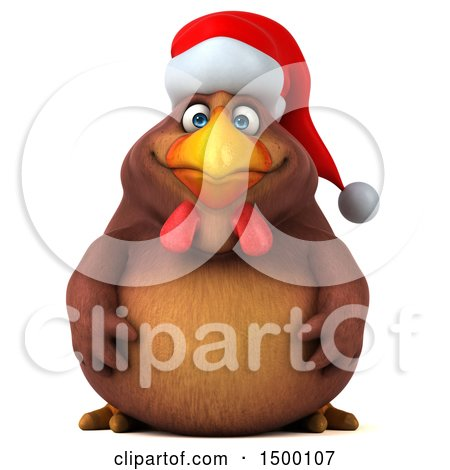 Clipart of a 3d Chubby Brown Christmas Chicken, on a White Background - Royalty Free Illustration by Julos