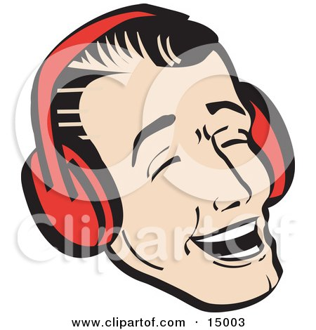 Happy Young Man Wearing Ear Muffs And Singing Christmas Carols Retro Clipart Illustration by Andy Nortnik