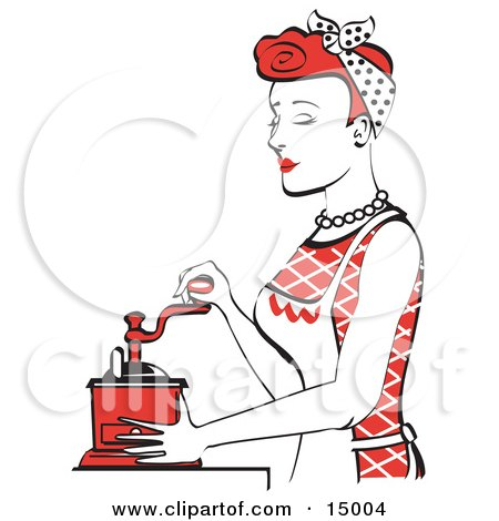 Beautiful Red Haired Housewife Or Maid Woman Using A Manual Coffee Grinder  Posters, Art Prints