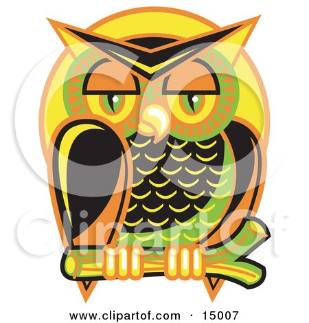 Wise And Colorful Owl Perched On A Branch At Night Against A Full Moon  Posters, Art Prints