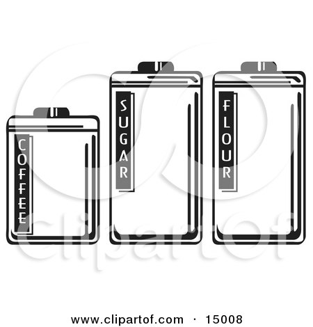 Three Storage Canisters In A Kitchen, Holding Coffee, Sugar And Flour Clipart Illustration by Andy Nortnik