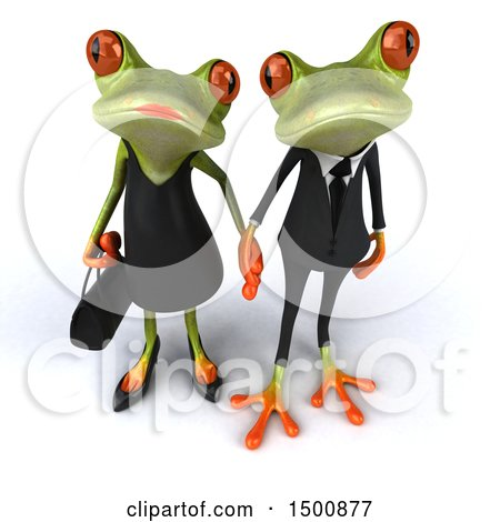 Clipart of a 3d Formal Green Springer Frog Couple Holding Hands, on a White Background - Royalty Free Illustration by Julos