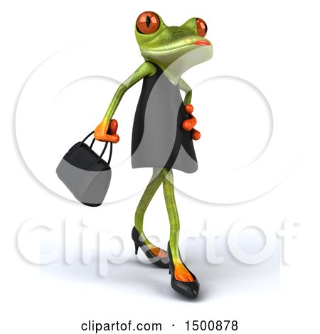 Clipart of a 3d Green Female Springer Frog in a Black Dress, on a White Background - Royalty Free Illustration by Julos