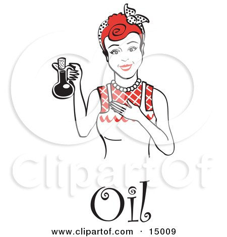 Happy Woman in an Apron, Holding up a Bottle of Cooking Oil, With Text Clipart Illustration by Andy Nortnik
