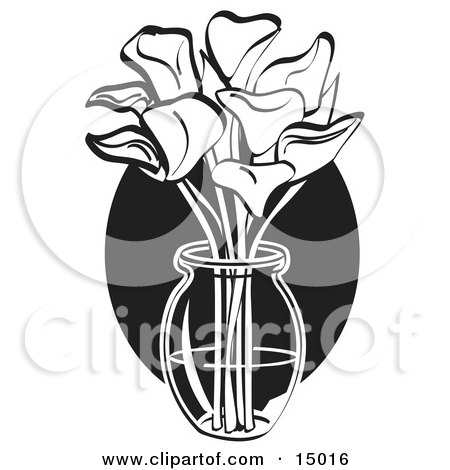 Bunch Of Cream Calla Lilies In A Clear Glass Vase Over A Blue Oval On Easter Clipart Illustration