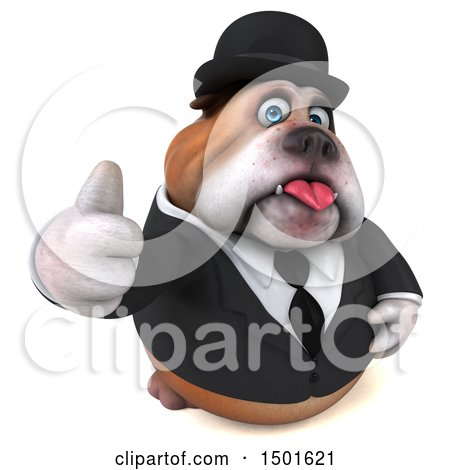Clipart of a 3d Bulldog Gentleman Giving a Thumb Up, on a White Background - Royalty Free Illustration by Julos