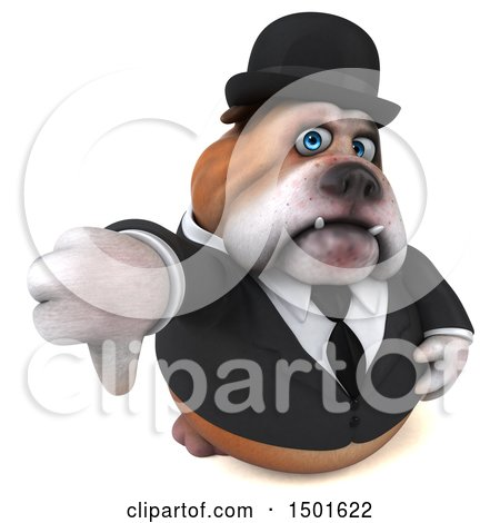 Clipart of a 3d Bulldog Gentleman Giving a Thumb Down, on a White Background - Royalty Free Illustration by Julos