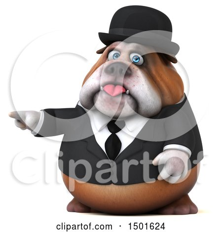 Clipart of a 3d Bulldog Gentleman Pointing, on a White Background - Royalty Free Illustration by Julos