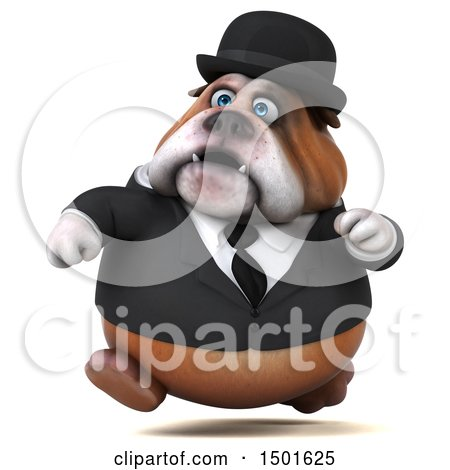 Clipart of a 3d Bulldog Gentleman Running, on a White Background - Royalty Free Illustration by Julos