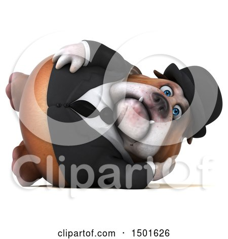 Clipart of a 3d Bulldog Gentleman Resting, on a White Background - Royalty Free Illustration by Julos