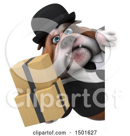 Clipart of a 3d Gentleman or Business Bulldog Holding Boxes, on a White Background - Royalty Free Illustration by Julos