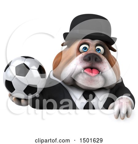 Clipart of a 3d Gentleman or Business Bulldog Holding a Soccer Ball, on a White Background - Royalty Free Illustration by Julos