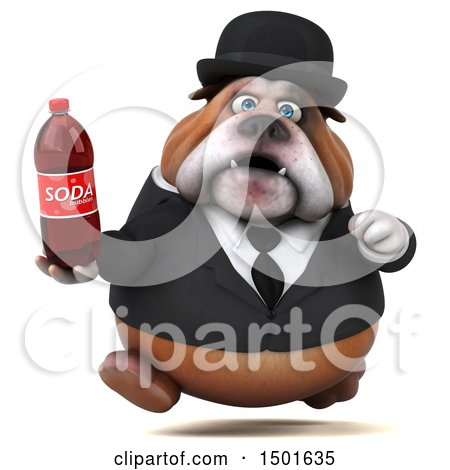 Clipart of a 3d Gentleman or Business Bulldog Holding a Soda, on a White Background - Royalty Free Illustration by Julos