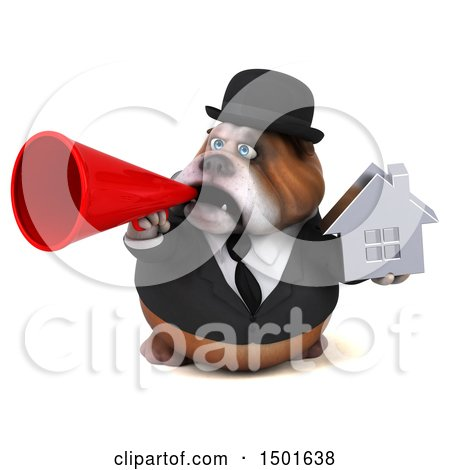 Clipart of a 3d Gentleman or Business Bulldog Holding a House, on a White Background - Royalty Free Illustration by Julos