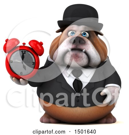 Clipart of a 3d Gentleman or Business Bulldog Holding an Alarm Clock, on a White Background - Royalty Free Illustration by Julos
