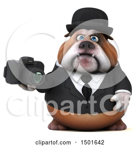 Clipart of a 3d Gentleman or Business Bulldog Holding a Camera, on a White Background - Royalty Free Illustration by Julos