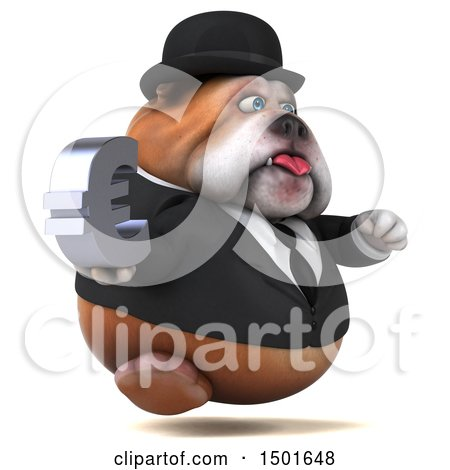 Clipart of a 3d Gentleman or Business Bulldog Holding a Euro Symbol, on a White Background - Royalty Free Illustration by Julos
