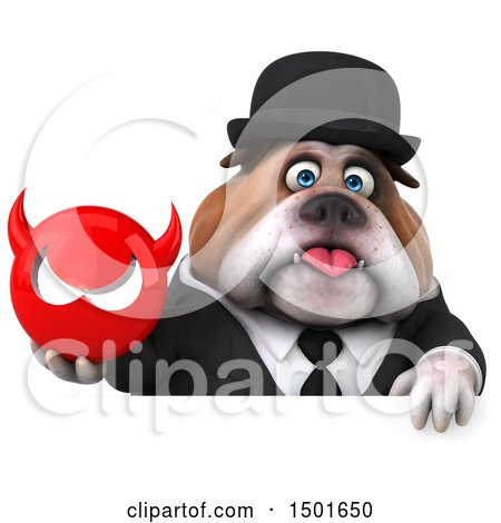 Clipart of a 3d Gentleman or Business Bulldog Holding a Devil Head, on a White Background - Royalty Free Illustration by Julos