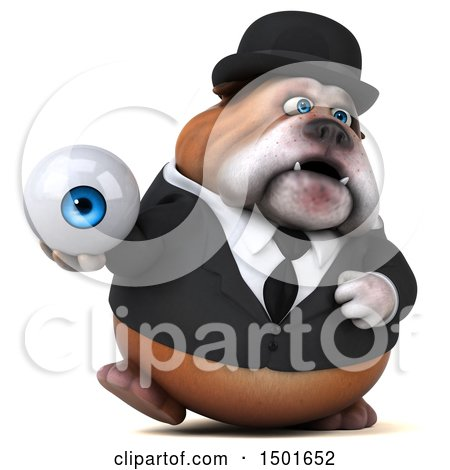 Clipart of a 3d Gentleman or Business Bulldog Holding an Eye, on a White Background - Royalty Free Illustration by Julos