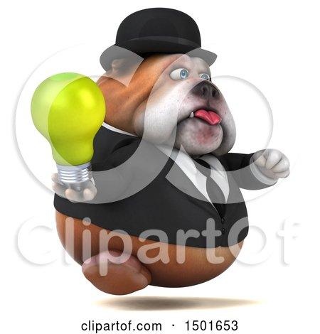 Clipart of a 3d Gentleman or Business Bulldog Holding a Light Bulb, on a White Background - Royalty Free Illustration by Julos