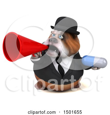 Clipart of a 3d Gentleman or Business Bulldog Holding a Pill, on a White Background - Royalty Free Illustration by Julos