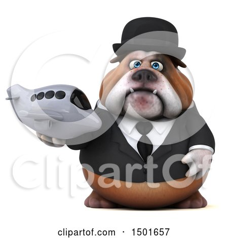 Clipart of a 3d Gentleman or Business Bulldog Holding a Plane, on a White Background - Royalty Free Illustration by Julos