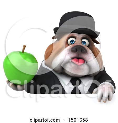 Clipart of a 3d Gentleman or Business Bulldog Holding an Apple, on a White Background - Royalty Free Illustration by Julos